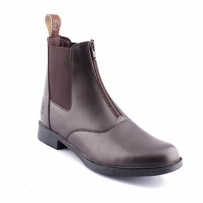 Ladies Leather Riding Jodhpur Stable Yard Zipped Front Paddock Boots Black Brown
