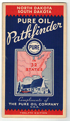 1935 Pure Oil Pathfinder N+S Dakota Road Map N.mint! 12Th Edit Gas Pump Auto
