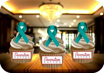 Kidney Cancer Ribbon 12 Edible STANDUP Cake Topper Decoration Charity Awareness