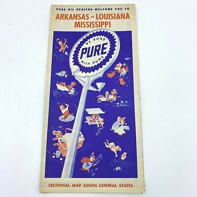 Vintage Pure Oil Co Road Map AR LA MS Arkansas Louisiana Mississippi BK2