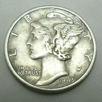 1943 Mercury Dime XF EF Extremely Fine 90/% Silver 10c US Coin Collectible
