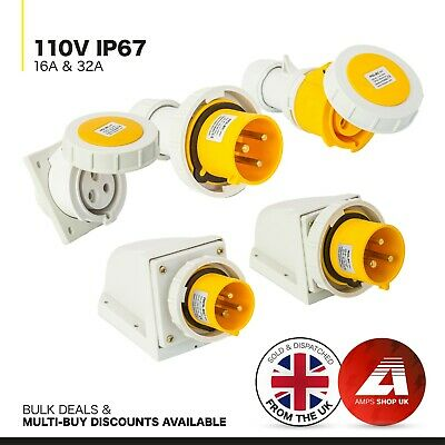 32A 110V Yellow 3 Pin Industrial  Site Plugs Sockets Couplers IP44 JCE 16A