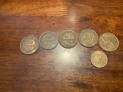 Australia Half Penny And Penny Collection 1917, 1919, 1928, 1933, 1943