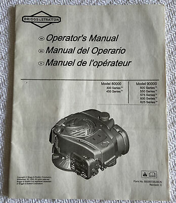 Briggs And Stratton Lawn Mower Engine Operators Manual Booklet Model 80000 90000