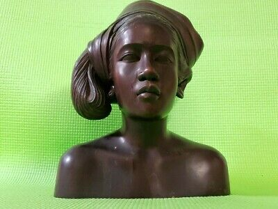 Vintage Hand Carved Wood Bali Indonesia Tribal Princess Bust Mahogany