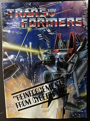 """Transformers Hasbro 1984 G1 /""""Reinforcements From Cybertron/"""" Mail-Away Insert"""