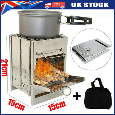 Wood Burning Stove Portable Foldable BBQ Outdoor Camping Cookware Barbecue I8U4