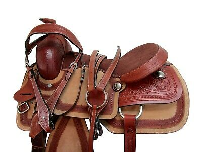 USED RODEO SADDLE 15 17 PLEASURE HORSE ROPING ROPER TACK RANCH TOOLED LEATHER