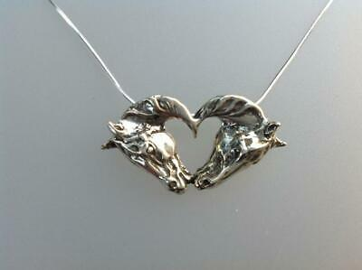 Kissing horses heart horse sterling silver pendant & chain Zimmer horse jewelry