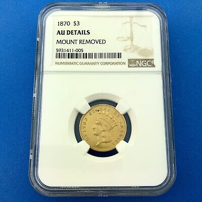 1870 P $3 Gold Indian Princess Head Better Key Scarce NGC AU Details Coin