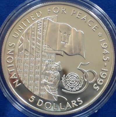 Barbados 5$ silver proof 1995 United Nations 50th Anniversary