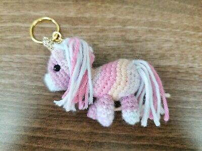 Unicorn keyring hand crocheted