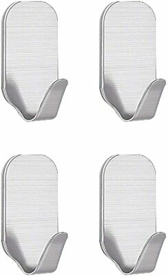 Self Adhesive Hooks 4Pcs, Stainless Steel Strong Wall Hanger...