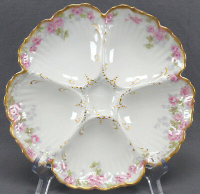 Authentic Limoges Oyster Plate White and Gold  Fine Porcelain c.1891-1896