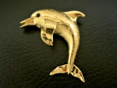 """Gorgeous Shiny Jumping High Playful Dolphin Embossed Gold Plated Pin Brooch -2"""""""