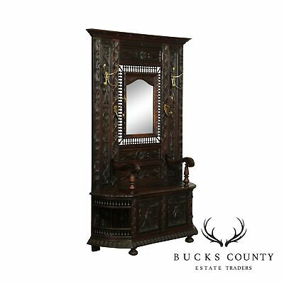 Antique French Brenton Carved Oak Mirror Back Hall Bench
