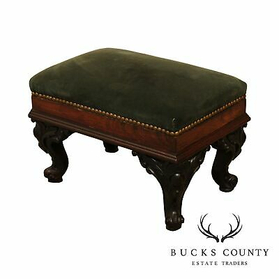 Antique Victorian Rosewood Small Footstool