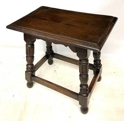Antique Carved Oak Joint Stool / Occasional Table / Lamp Stand (84)