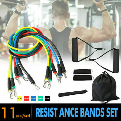 11 PCS Resistance Bands Set Exercise Fitness Abs Tube Workout Yoga  Pilates Abs