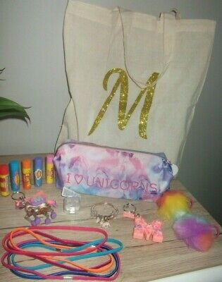 unicorn rainbow letter M lip balm keyrings etc bundle next paperchase smiggle