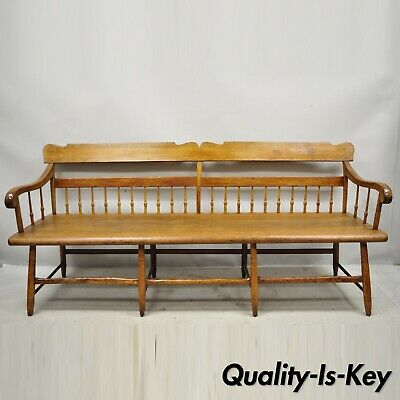 """19th Century Antique American Colonial Spindle Back Hitchcock 76"""" Long Bench"""