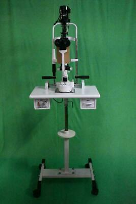 2 step Slit Lamp microscope w wooden table Wheel Pedestal stand