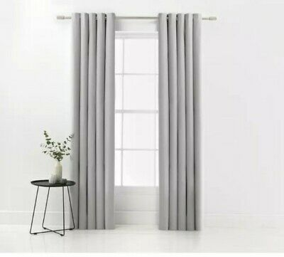 Black Argos Home 229 x 229cm Chunky Weave Blackout Lined Eyelet Curtains