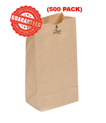 "(500 Pack)  6 lb. Disposable Paper Brown Grocery Bag Standard 6"" W x 11 1/16"" H"
