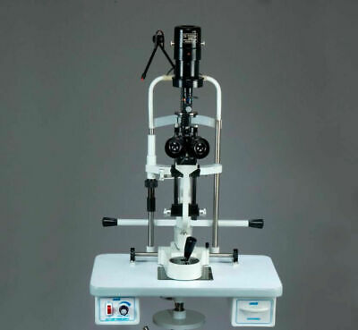 2 step slit lamp bio Microscope with power source ,Wooden base