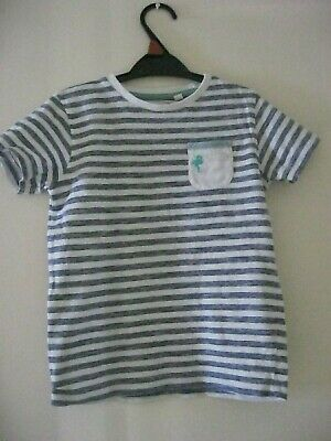 BOY'S NEXT BLUE / WHITE STRIPED T-SHIRT. Age 4 - 5 years. Height 110 cm.