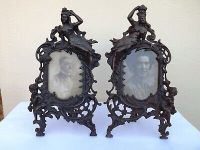 2 Original Art Nouveau Cast Iron / Bronze Photo Frames And Original Pictures