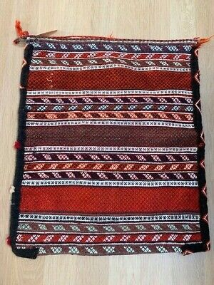 Vintage Caucasian Soumak Wool Large Tribal Woven Bag Tapestry Red Wool Textile