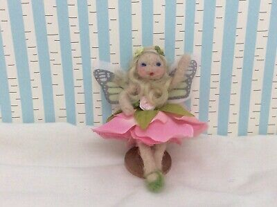 Pink And Green Flower Fairy Doll,handcrafted  Fairy, Needle Felted Fairy