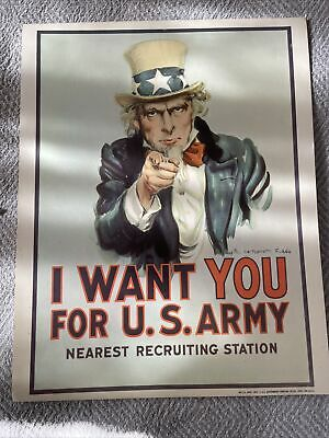 """Uncle Sam  """"I Want You for the US Army"""" Recruiting Sign Mancave MT. Flawless."""