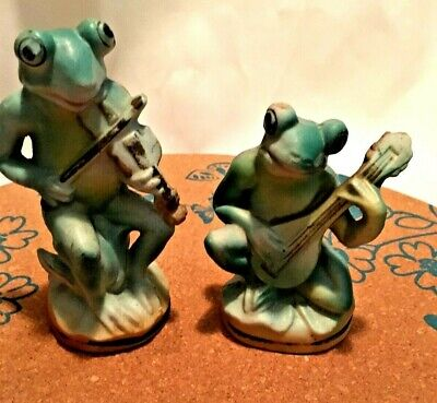 Lot 2 Vintage Ceramic Whimsical Frog Figurines Made In Occupied Japan