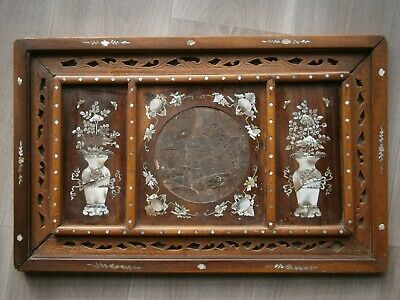 Panel Decorative Antique Marquetry Mother-of-Pearl Wood Exotic Art Asia Vietnam