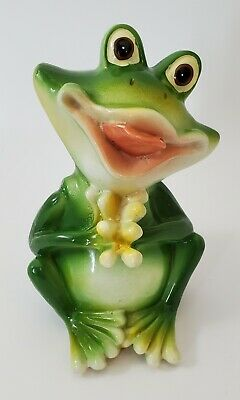 Whimsical Resin Frog Sitting Holding Hands Together