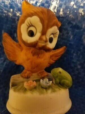 Lipco Ceralic Owl Figurine With Applied Frog And Flowers