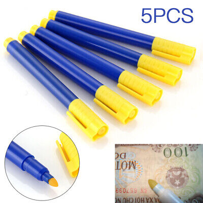 5PC Money Tester Pens Counterfeit Forged Fake Detector Marker Bank Note Checkerw