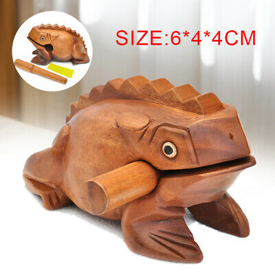 Thailand Craft Wooden Lucky Carved Frog Croaking Musical Instrument  Art wp