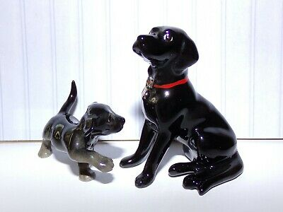 Lot of 2 Hagen Renaker Black Lab Dog w/Red Collar & Puppy. Bone China U.S.A.