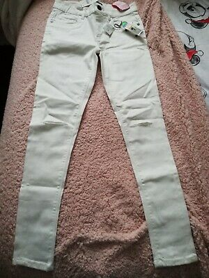 Next Age 12 Years Boys White Skinny Jeans with skateboard keyring BNWT