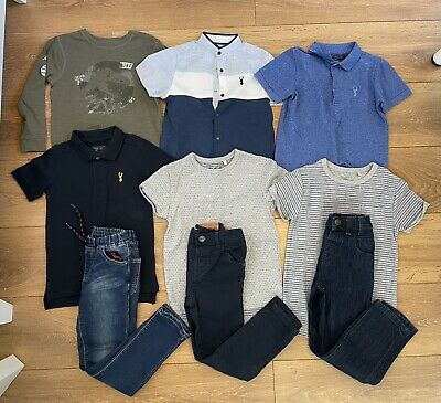 Next Boys Kids Blue Skinny Jeans & smart top Bundle x 9 Items, Age 4-5
