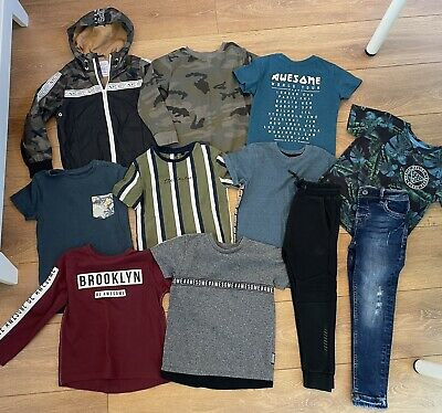 Next Boys Kids Blue Skinny Jeans & t-shirt top Bundle x 11 Items, Age 4-5