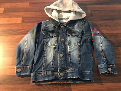 Boys Toddlers Age 3 Years Minoti Blue Denim Hooded Jacket Winter Tiger Trendy