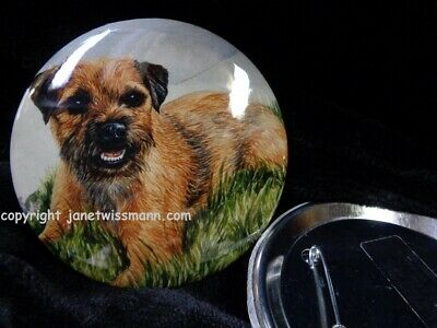 2 LARGE BUTTON PINS, 3-1/2 inch diam. Border Terrier Dog Show Trophy Prize Gift