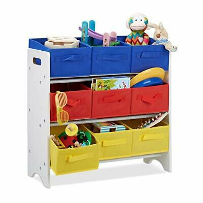 Children's Storage Shelf with 9 Removable Boxes with Handles, Toy