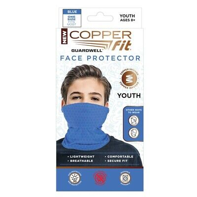 Copper Fit Guardwell Face Protector Mask Youth Blue Brand New - Back To School