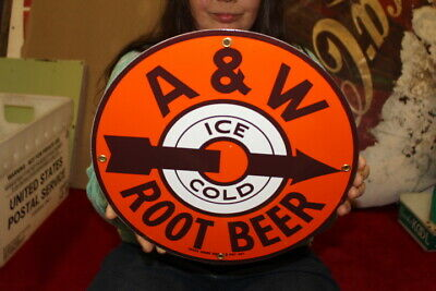 A&W Root Beer Restaurant Soda Pop Gas Oil Porcelain Metal Sign