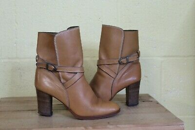 Vintage 70'S Tan Leather High Heel Ankle Boots Size 5 / 38 By Antonini Used Con